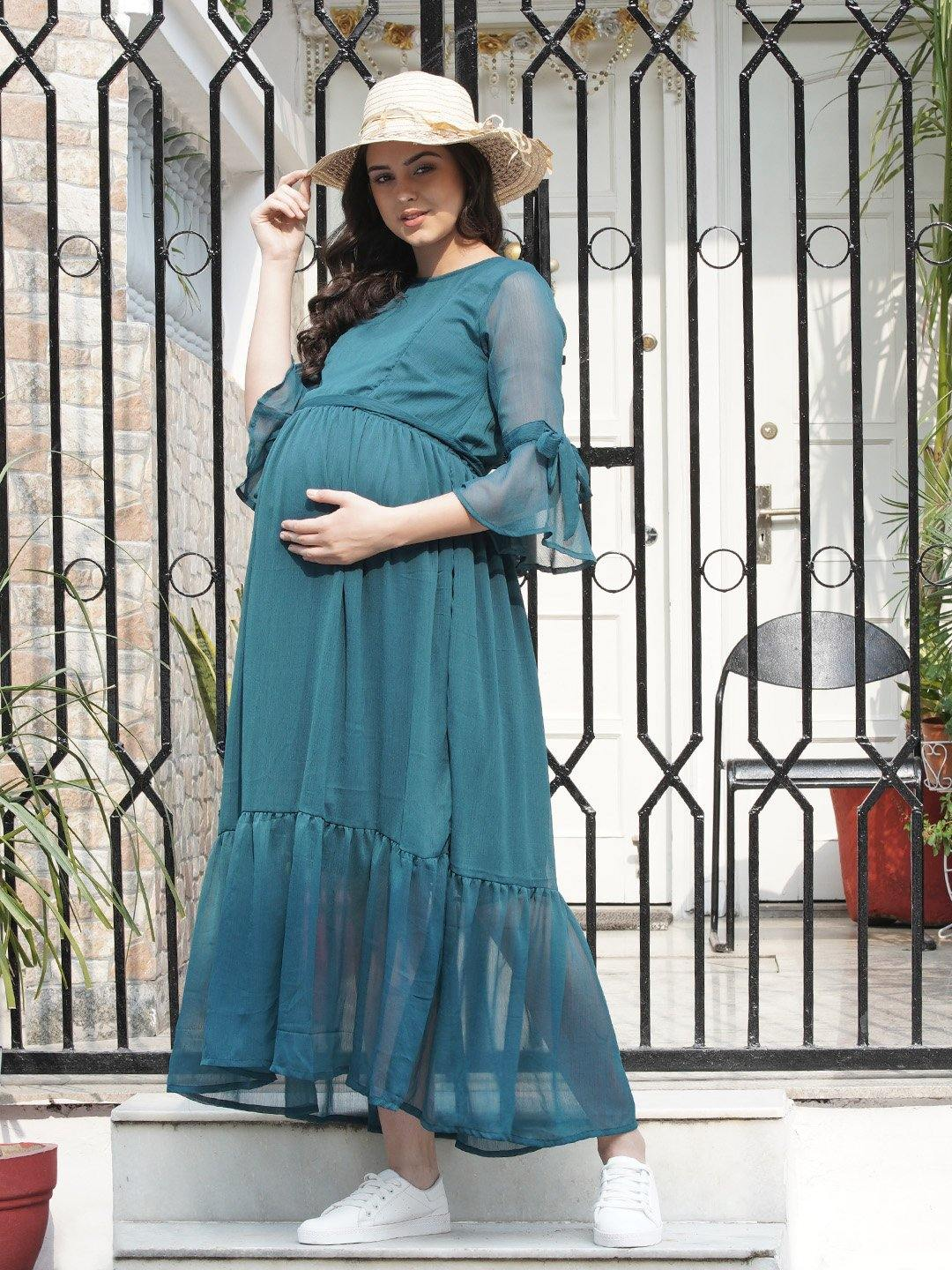 Mine4Nine - Dress - Ocean Blue Fit & Flare Maternity Dress Made of Chiffon & Lycra