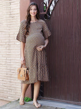 Load image into Gallery viewer, Chocolate Brown A-line Maternity Dress w/ Floral Print, Made of Rayon- Mine4Nine