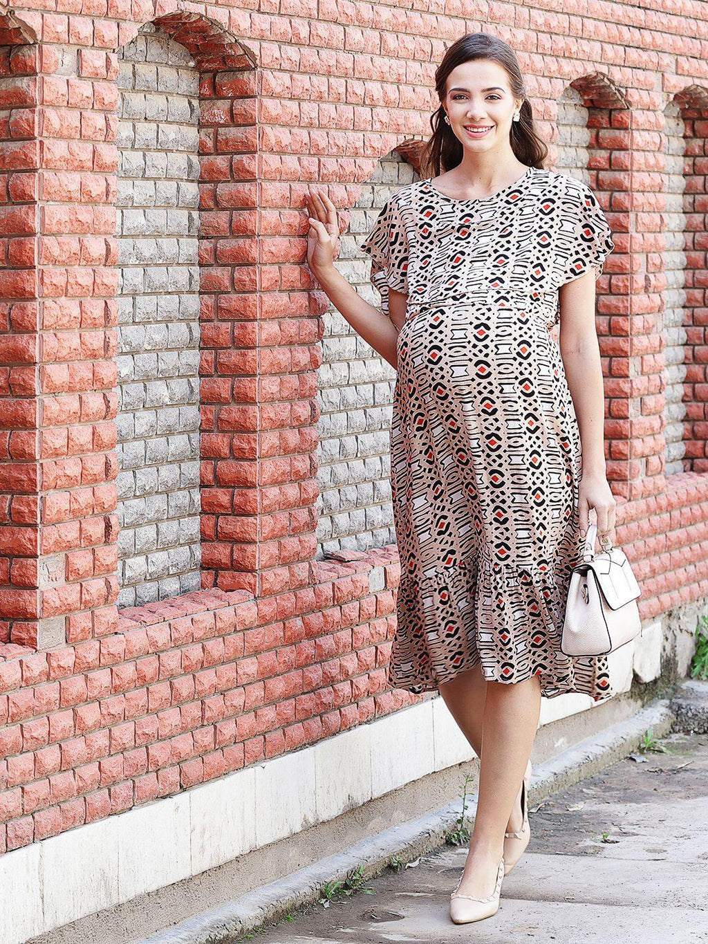 Beige A-line Maternity Dress w/ Geometric Pattern Made of Rayon- Mine4Nine