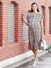 Load image into Gallery viewer, Beige A-line Maternity Dress w/ Geometric Pattern Made of Rayon- Mine4Nine