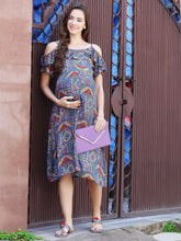Load image into Gallery viewer, Steel Blue A-line Maternity Dress w/ Paisley Design, Made of Rayon- Mine4Nine