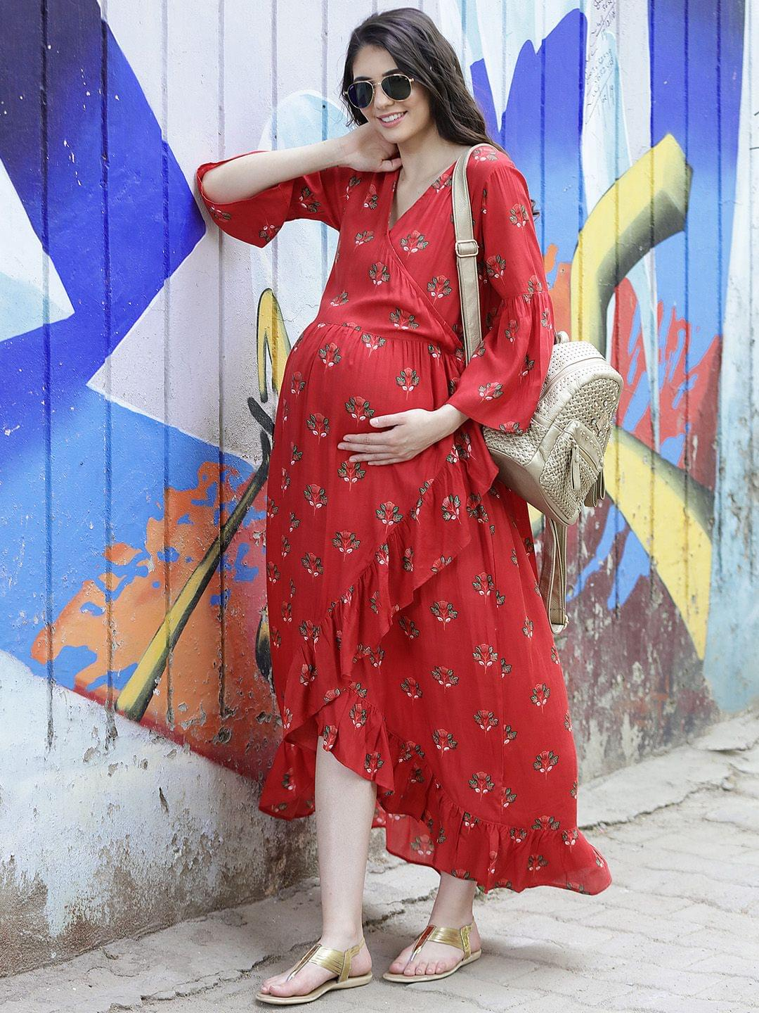 Firebrick Red Wrap Maternity Dress w/ Floral Pattern, Made of Rayon- Mine4Nine