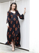 Load image into Gallery viewer, Black Wrap Maternity Dress w/ Floral Pattern, Made of Rayon- Mine4Nine