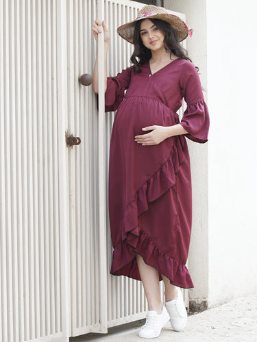 Mine4Nine - Dress - Wine Purple Wrap Maternity Dress Made of Synthetic