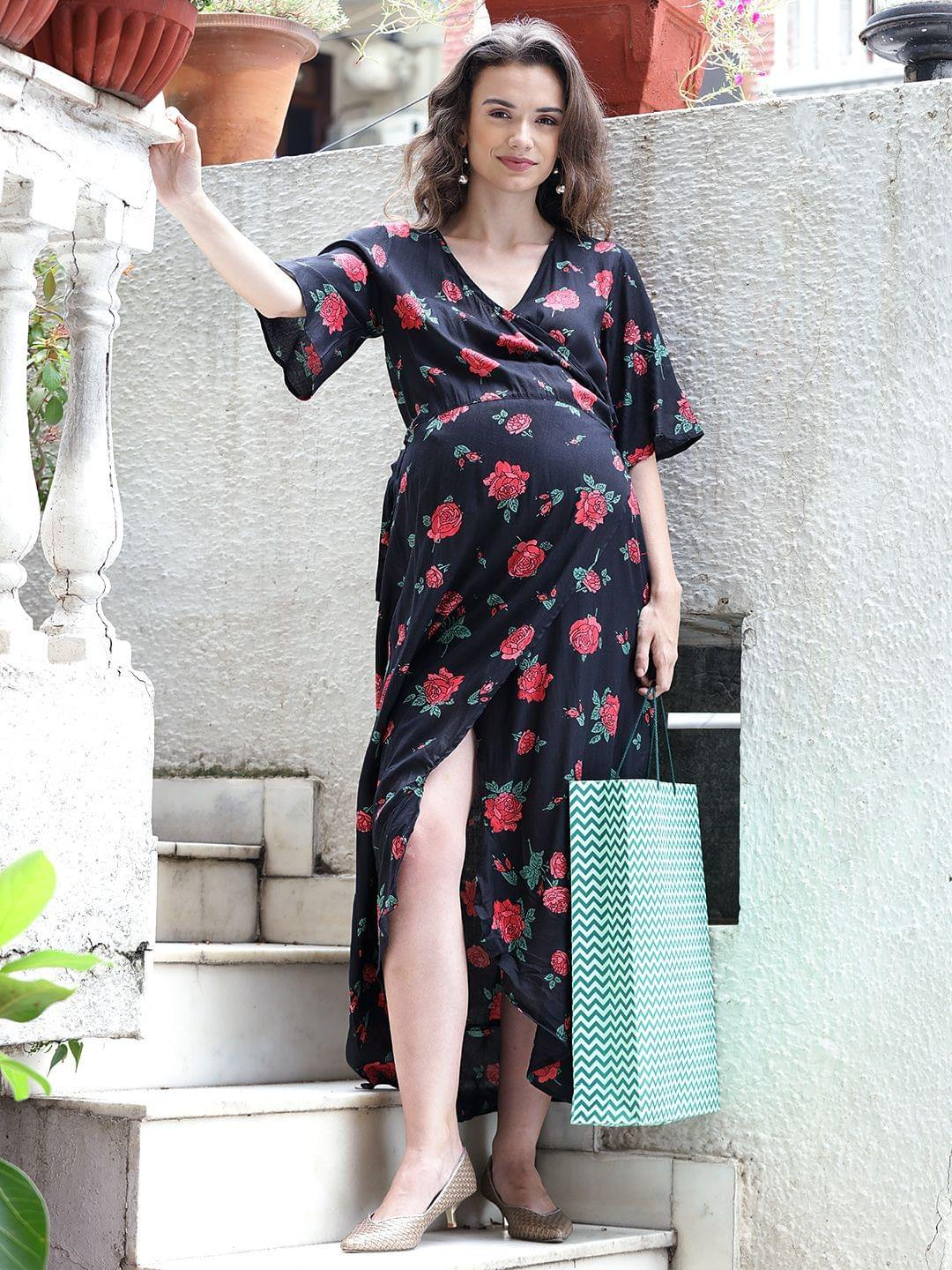 Black Wrap Maternity Dress w/ Floral Print, Made of Rayon- Mine4Nine