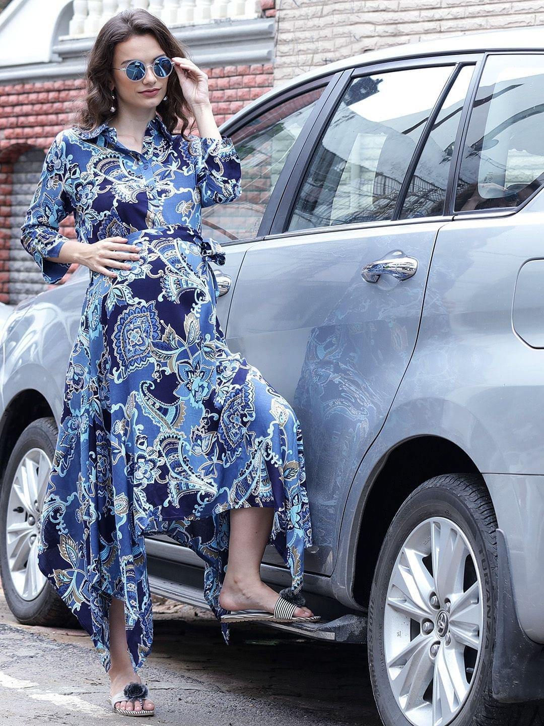 Cornflower Blue Asymmetric Maternity Dress w/ a Paisley Design, Made of Rayon- Mine4Nine