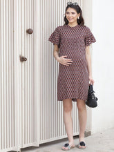 Load image into Gallery viewer, Brown Empire Waist Maternity Dress w/ a Geometric Design, Made of Rayon- Mine4Nine