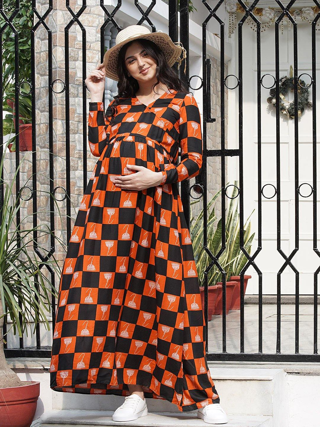 Mine4Nine - Dress - Black & Tomato Wrap Maxi Maternity Dress w/ Traditional Print, Made of Rayon