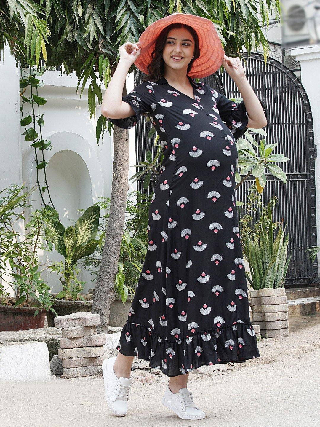 Mine4Nine - Dress - Black A-Line Maxi Maternity Dress w/ Traditional Print, Made of Rayon