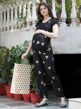 Load image into Gallery viewer, Mine4Nine - Dungaree - Black Regular Maternity Dungaree w/ Polka Dots Made Of Rayon