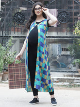 Load image into Gallery viewer, Mine4Nine - Shrug - Dark Cyan Fit & Flare Maxi Maternity Shrug w/ Check Pattern, Made of Rayon