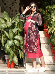 Mine4Nine - Dress - Fuchsia Pink Straight Maternity Dress w/ a Shrug, Made of Cotton & Chiffon| COMBO