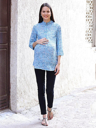 Light Blue Regular Fit Maternity Top w/ Floral Print, Made of Georgette- Mine4Nine