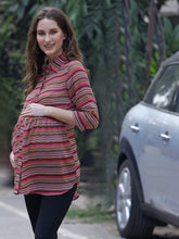 Load image into Gallery viewer, Indian Red Regular Fit Maternity Top w/ Graphic Pattern Made of Georgette- Mine4Nine