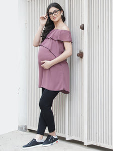 Mine4Nine - Top - Rosy Brown Regular Fit Maternity Top Made of Synthetic