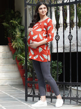 Load image into Gallery viewer, Mine4Nine - Top - Crimson Red Regular Fit Maternity Top w/ Leaf Print Made of Rayon