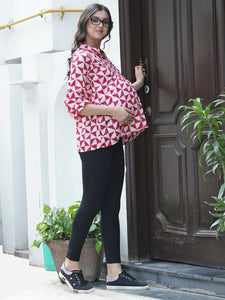 Mine4Nine - Top - Fuchsia Pink & White Regular Fit Maternity Top w/ Geometric Print, Made of Rayon