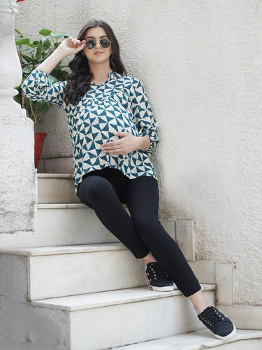 Mine4Nine - Top - Teal & White Regular Fit Maternity Top w/ Geometric Print, Made of Rayon