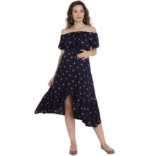 Load image into Gallery viewer, Midnight Blue Midi Maternity Dress w/ Polka Dots Made of Rayon- Mine4Nine