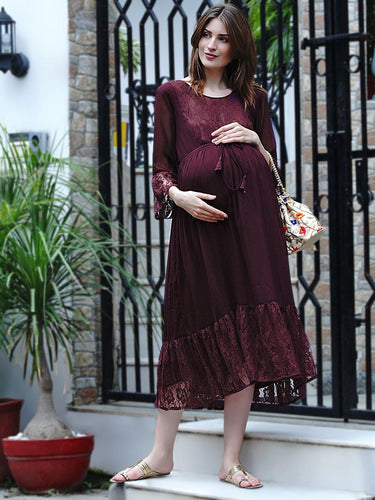 Mine4Nine Women's Fit & Flare Chiffon Maternity Dress