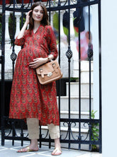 Load image into Gallery viewer, Mine4Nine Women's Red A-Line Rayon Maternity Kurta