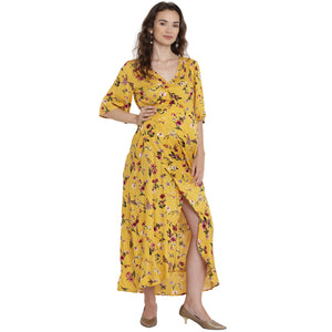 Very Yellow Maxi Maternity Dress w/ Floral Patterns, Made of Rayon- Mine4Nine