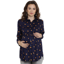 Load image into Gallery viewer, Midnight Blue Regular Maternity Top w/ Polka Dots Made of Rayon- Mine4Nine