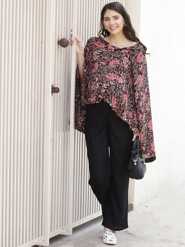 Black Kaftan Maternity Top w/ Floral Pattern, Made of Rayon- Mine4Nine