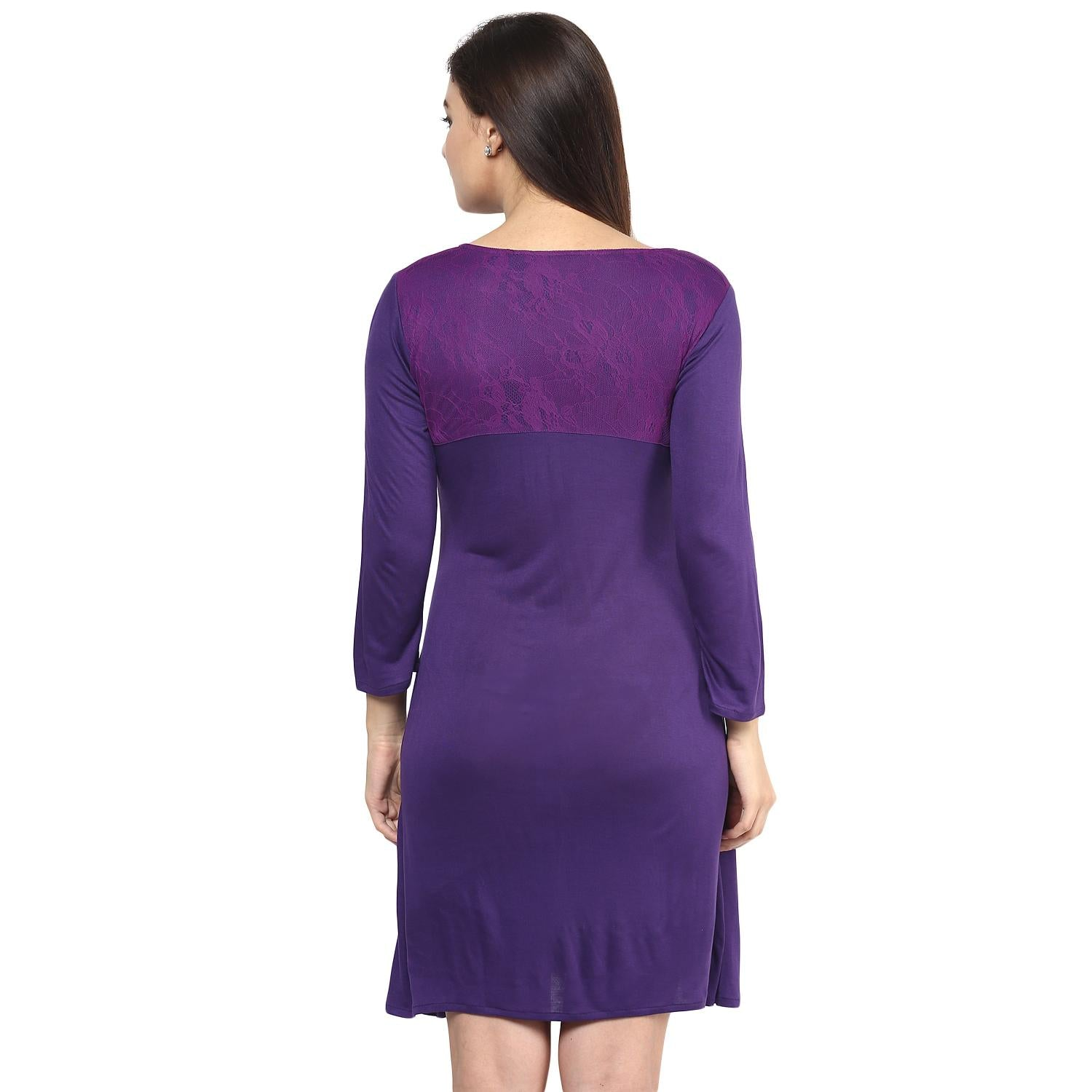 Dark Purple A-line Maternity Dress w/ a Bow Knot and Lace Back- Mine4Nine