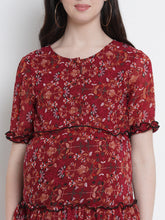 Load image into Gallery viewer, Fire Brick Red A-Line Maternity Dress w/ Floral Pattern, Made of Georgette & Lycra