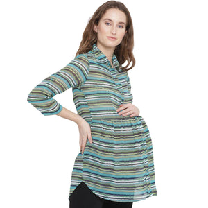 Light Sea Green Maternity Top w/ a Zig-Zag Pattern Made of Georgette {SKU mixed up in storehippo}- Mine4Nine