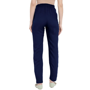 Navy Maternity Trousers Made of Lycra & Rayon- Mine4Nine