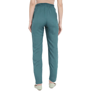 Teal Maternity Trousers Made of Lycra & Rayon- Mine4Nine