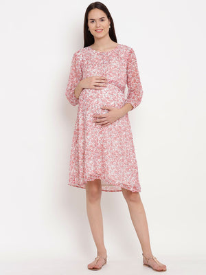 Reddish-White A-line Maternity Dress w/ Floral Design, Made of Chiffon- Mine4Nine