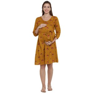 Mellow Yellow A-line Maternity Dress w/ Floral Print Made of Rayon- Mine4Nine