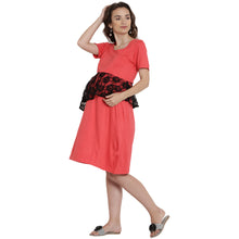 Load image into Gallery viewer, Tomato A-line Maternity Dress Made of Lycra- Mine4Nine