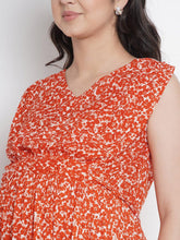 Load image into Gallery viewer, Mine4Nine Women's Orange A-Line Rayon Maternity Dress