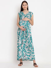 Load image into Gallery viewer, Dark Cyan Maxi Maternity Dress w/ Floral Pattern, Made of Rayon- Mine4Nine