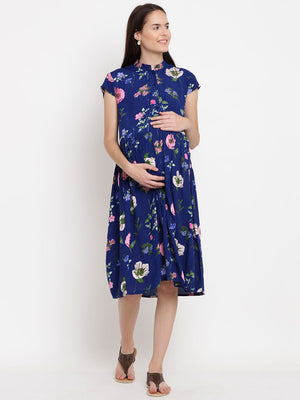 Navy A-line Maternity Dress w/ Floral Print, Made of Rayon- Mine4Nine