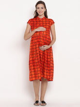 Load image into Gallery viewer, Reddish-Orange A-line Maternity Dress w/ Geometric Pattern Made of Rayon- Mine4Nine