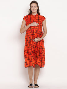 Reddish-Orange A-line Maternity Dress w/ Geometric Pattern Made of Rayon- Mine4Nine