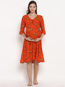 Orangish-Red A-line Maternity Dress w/ a Traditional Pattern, Made of Rayon- Mine4Nine