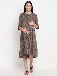 Black Fit & Flare Maternity Dress w/ Floral Print, Made of Rayon- Mine4Nine