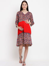 Load image into Gallery viewer, Reddish-Orange Fit & Flare Maternity Dress w/ Geometric Pattern, Made of Rayon- Mine4Nine