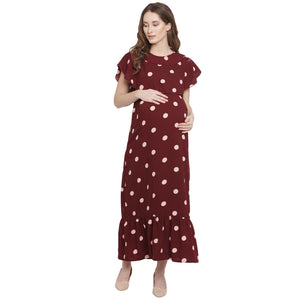 Rich Rose Wood Maxi Maternity Dress w/ Polka Print Made of Synthetic- Mine4Nine