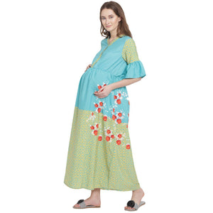 Cyan A-line Maternity Dress w/ Floral Print, Made of Crepe- Mine4Nine