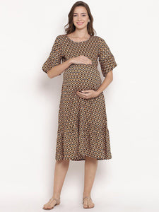 Chocolate Brown A-line Maternity Dress w/ Floral Print, Made of Rayon- Mine4Nine