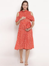 Load image into Gallery viewer, Reddish-Orange A-line Maternity Dress w/ Floral Pattern Made of Rayon- Mine4Nine