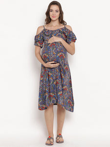 Steel Blue A-line Maternity Dress w/ Paisley Design, Made of Rayon- Mine4Nine