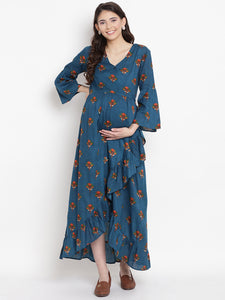 Teal Wrap Maternity Dress w/ Floral Pattern Made of Rayon- Mine4Nine